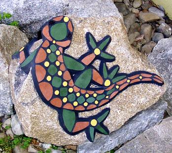 Maria haag mosaikart mosaikkunst mosaike f r garten mosaik eidechse gr n braun gelb - Garten mosaik ...